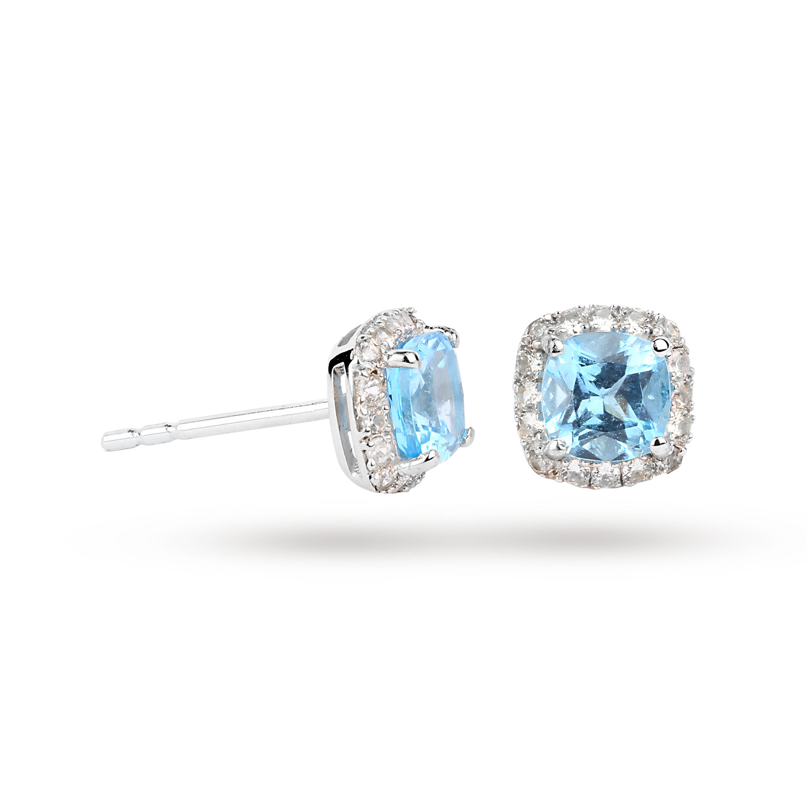 9ct White Gold Blue Topaz And Shire Stud Earrings