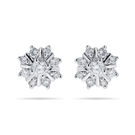9ct White Gold 0.25ct Snowflake Stud Earrings