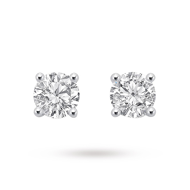 9ct White Gold 0.50ct Brilliant Cut Stud Earrings