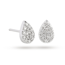 9 Carat White Gold 0.25 Carat Total Weight Pear Cluster Earrings