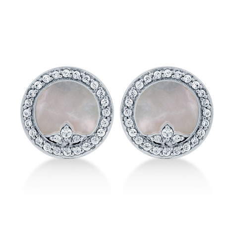 Treasure Empress 18ct White Gold Mother of Pearl and 0.26cttw Diamond Stud Earrings