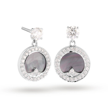 Mappin & Webb Treasure Empress Grey Mother of Pearl Drop Earrings in 18ct White Gold