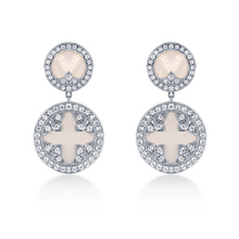 Mappin & Webb Treasure Empress 18ct White Gold Mother of Pearl and 0.90cttw Diamond Drop Earrings