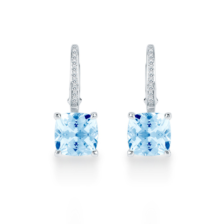 Carrington 18ct White Gold 4.30cttw Blue Topaz and 0.10cttw Diamond Drop Earrings