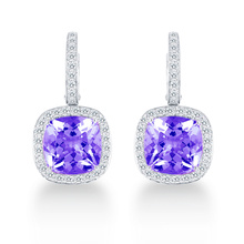 Carrington 18ct White Gold 4.70cttw Amethyst and 0.60cttw Diamond Drop Earrings