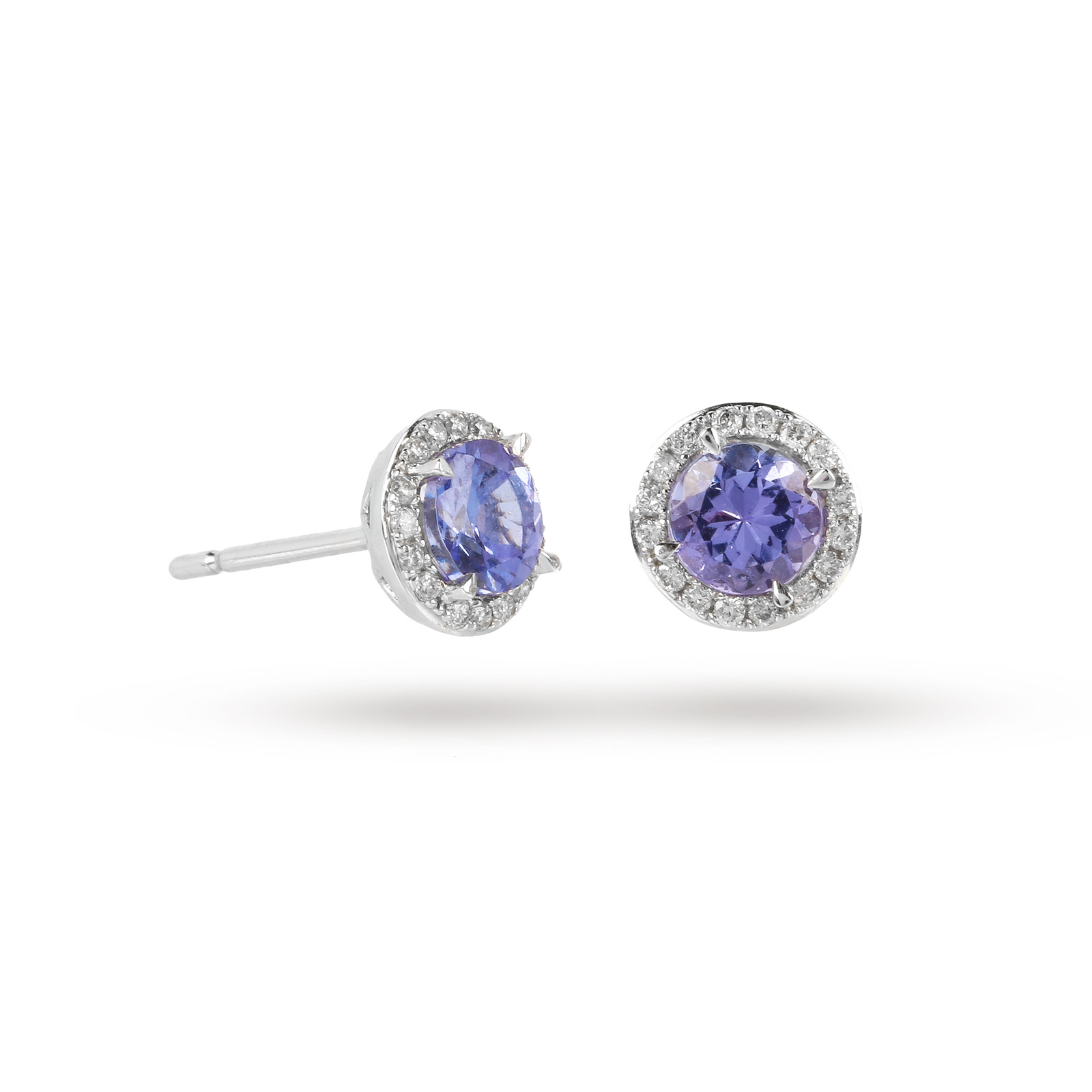 9ct White Gold Tanzanite And Diamond Halo Stud Earrings