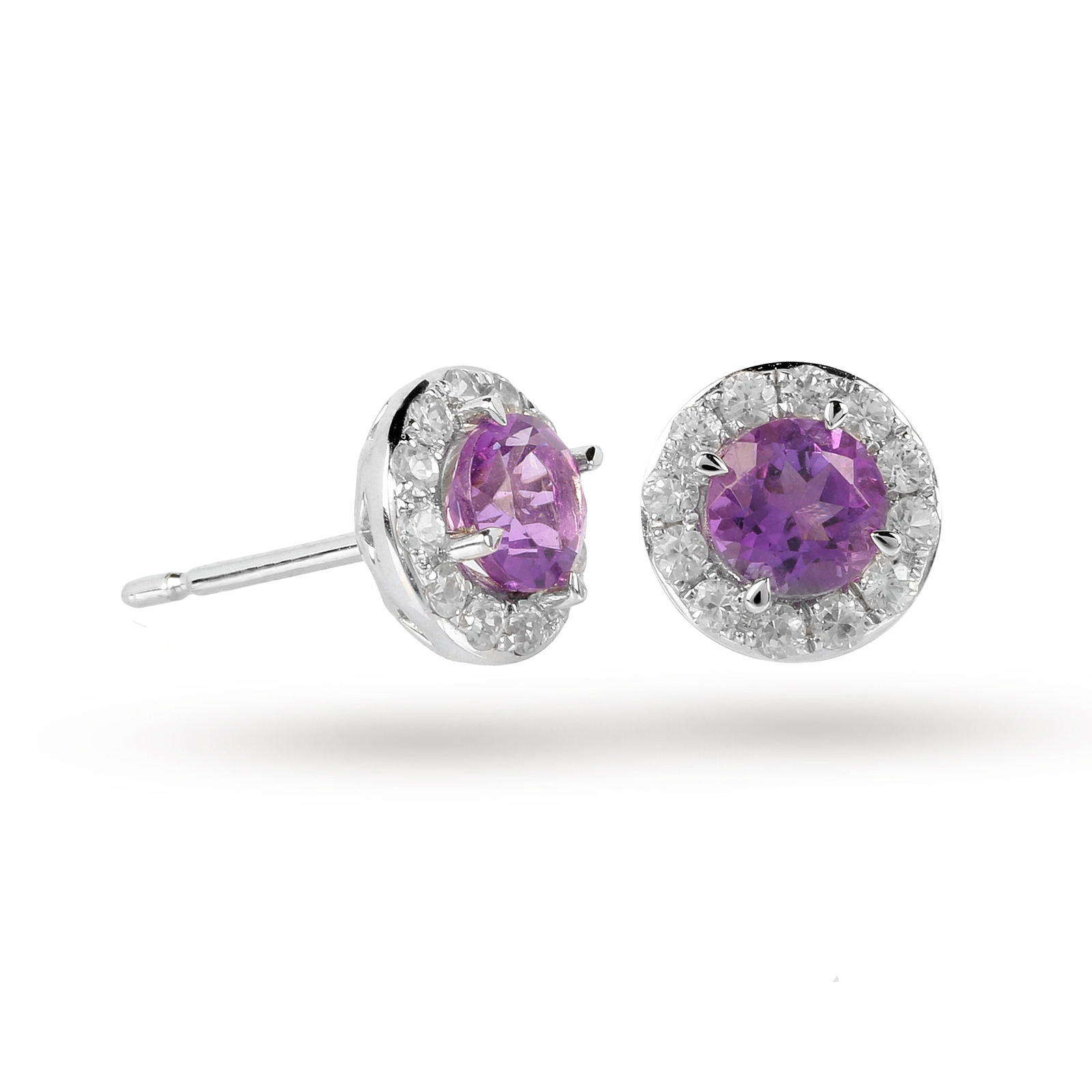 9ct White Gold Amethyst And Diamond Halo Stud Earrings