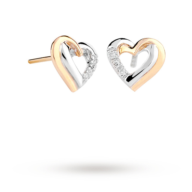 9ct White And Yellow Gold 0 03ct Diamond Heart Stud Earrings