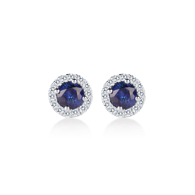 Carrington 18ct White Gold 4.34mm Sapphire and 0.15cttw Diamond Studs