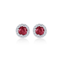 Carrington 18ct White Gold 4.34mm Ruby and 0.15cttw Diamond Studs