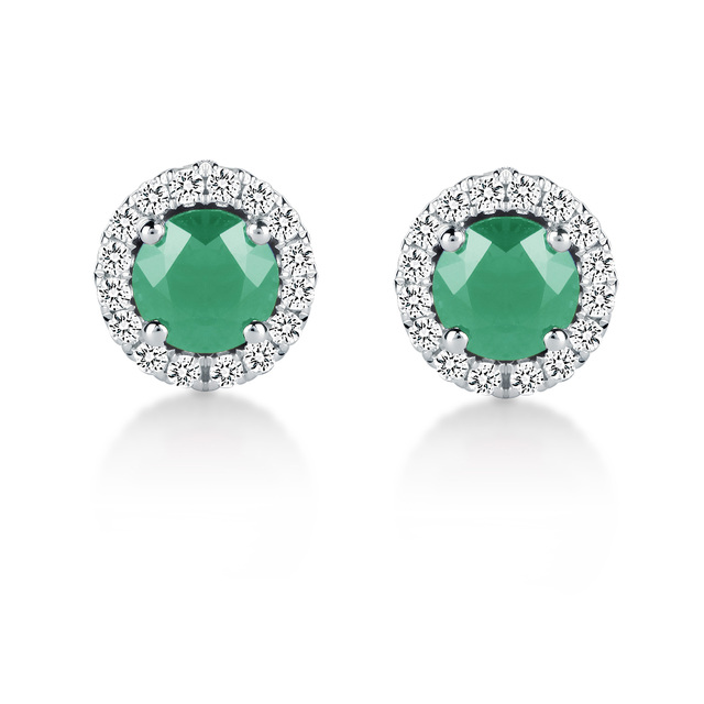 Carrington 18ct White Gold 4.34mm Emerald and 0.15cttw Diamond Studs