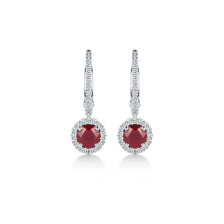 Carrington 18ct White Gold 5mm Ruby and 0.30cttw Diamond Drops