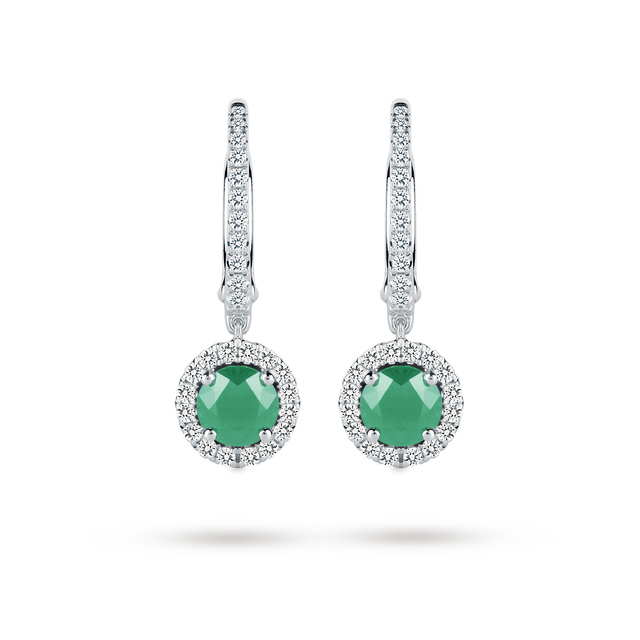 Emerald and Diamond Drop Earrings