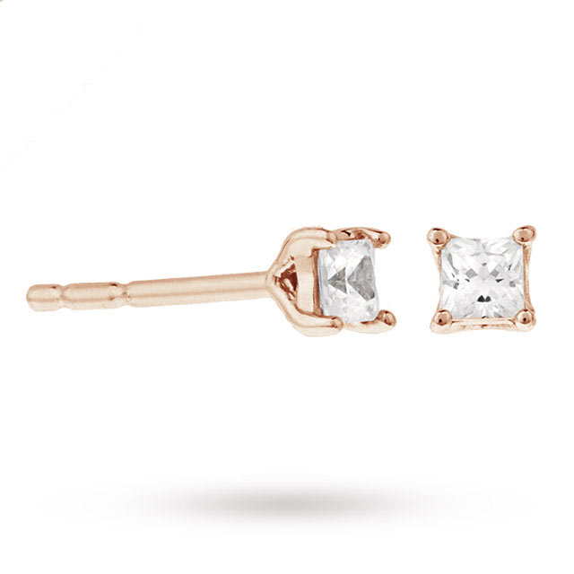9ct Rose Gold 0.25ct Princess Cut Diamond Stud Earrings