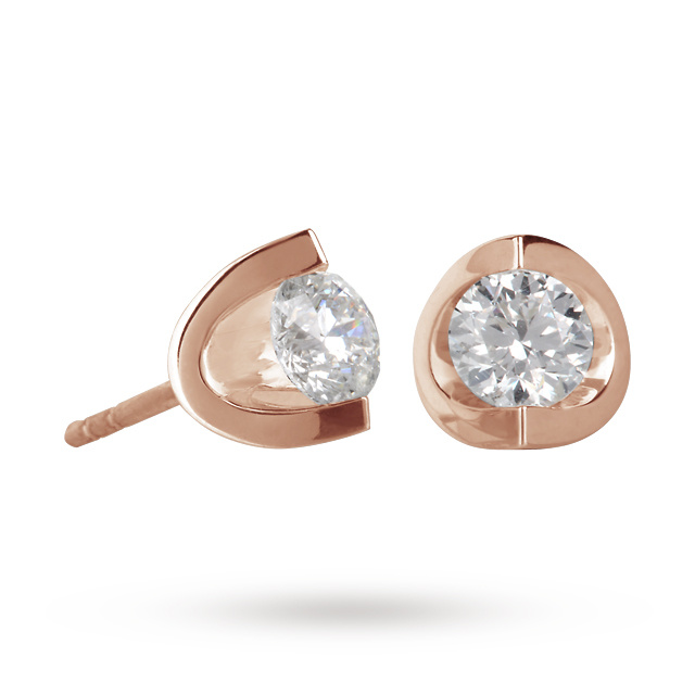 18ct Rose Gold 0.70ct Tension set Diamond Earrings