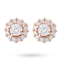 9ct Rose Gold 0.20ct Diamond Halo Stud Earrings