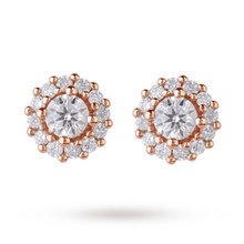 9ct Rose Gold 0.30ct Diamond Halo Stud Earrings