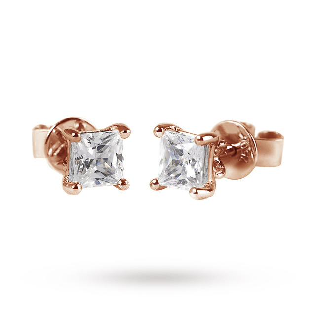 9ct Rose Gold 0.25ct Princess Cut Stud Earrings