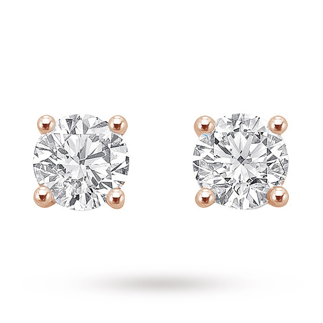18ct Rose Gold 1.00ct Brilliant Cut Stud Earrings