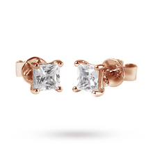 For Her - 9ct Rose Gold 0.15ct Princess Cut Stud Earrings - 12152602