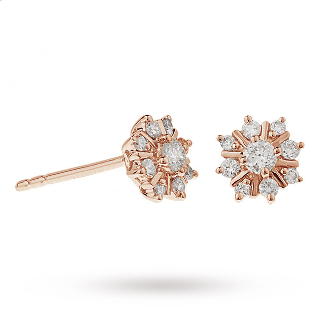 9ct Rose Gold 0.25ct Snowflake Stud Earrings
