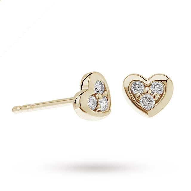 9ct Yellow Gold Diamond Set Heart Stud Earrings