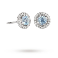 9ct White Gold 4x4mm Aquamarine and 0.12cttw Diamond Halo Stud Earrings