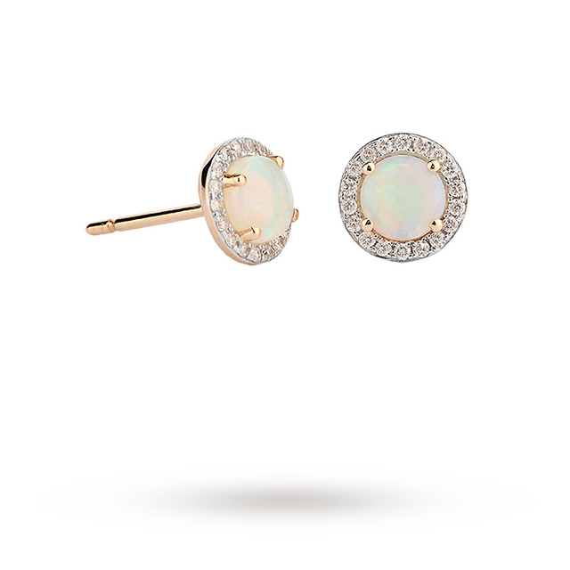 ab7ab26d3bf 9ct Yellow Gold 5mm Opal And Diamond 0.13ct Halo Stud Earrings ...