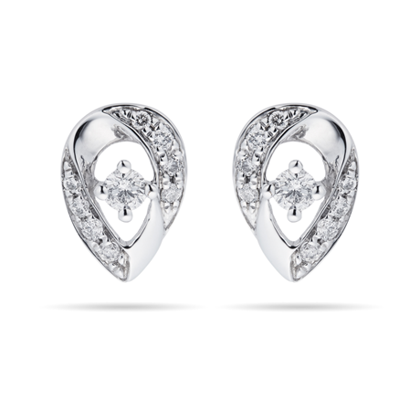 9ct White Gold 0.15ct Diamond Pear Stud Earrings
