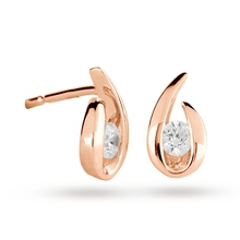 9ct Rose Gold 0.15cttw Diamond Swoop Stud Earrings