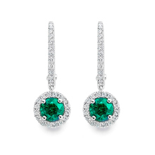 Carrington 18ct White Gold 5mm Emerald and 0.30cttw Diamond Drops
