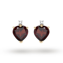 9ct Yellow Gold Heart Garnet And Diamond Stud Earrings