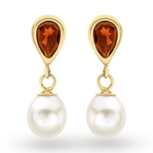9ct Yellow Gold Pear Garnet And Pearl Drop Stud Earrings