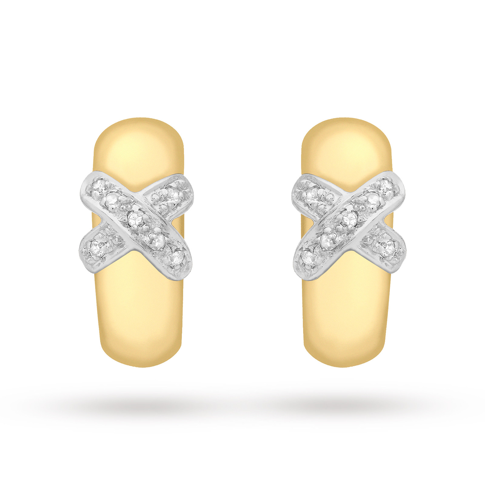9ct Yellow Gold Diamond Kiss Half-Band Earrings