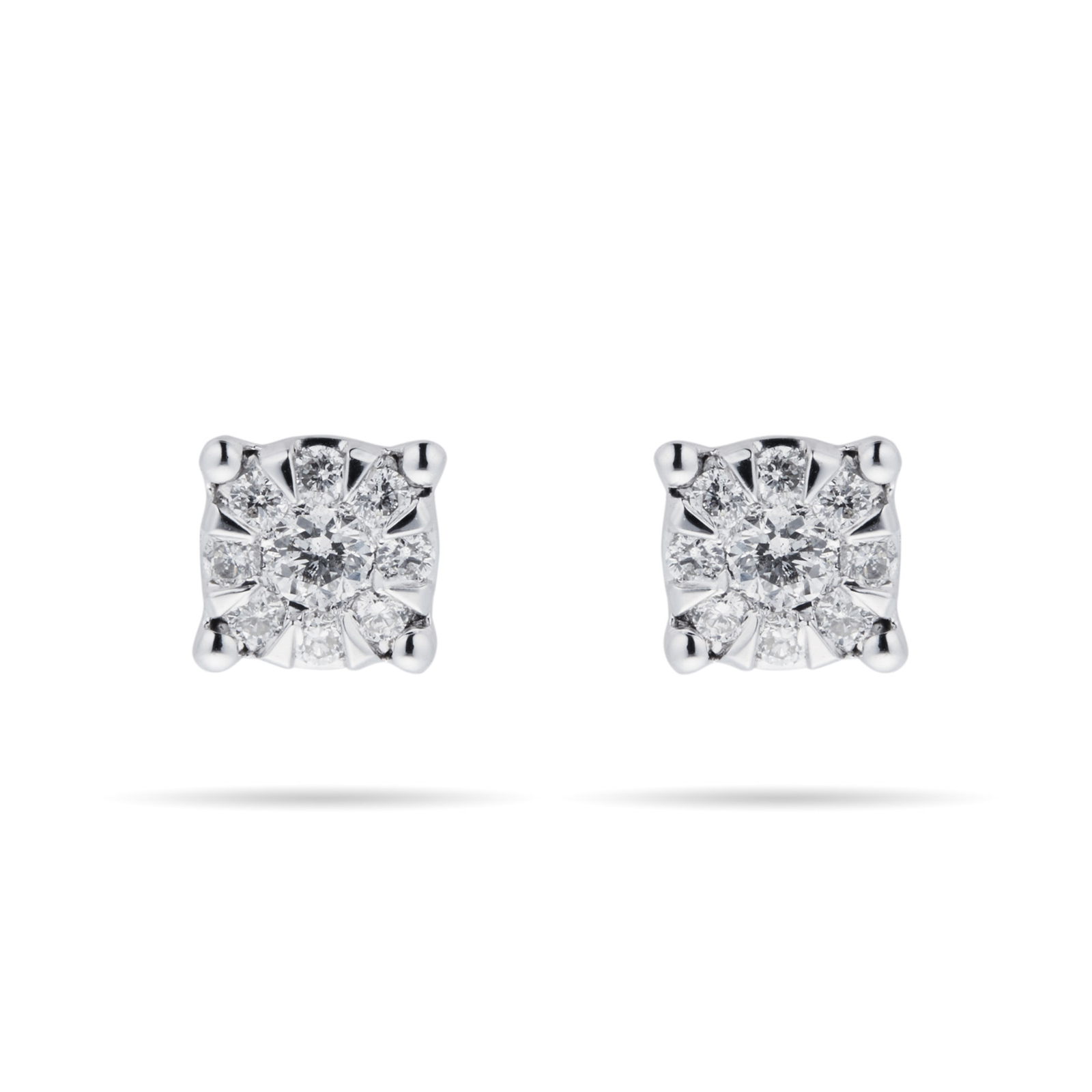 9ct White Gold 0.15 Carat Total Weight Diamond Multi Stone Stud Earrings