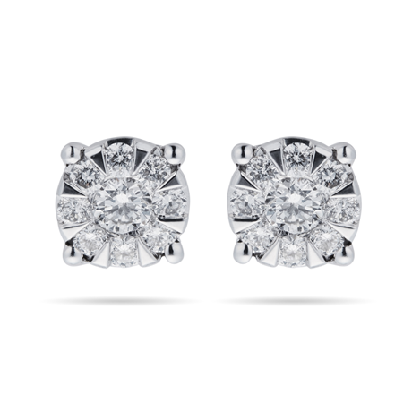 9ct White Gold 0.50 Carat Total Weight Diamond Multi Stone Stud Earrings