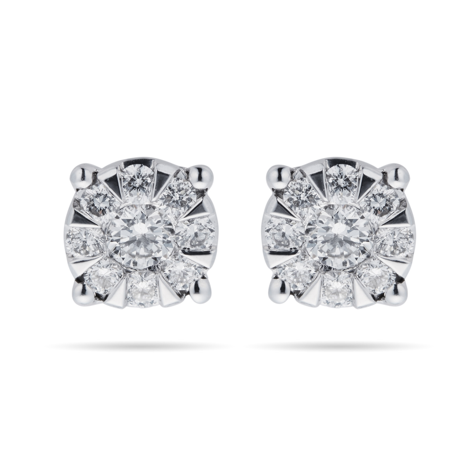 9ct White Gold 0 50 Carat Total Weight Diamond Multi Stone Stud Earrings