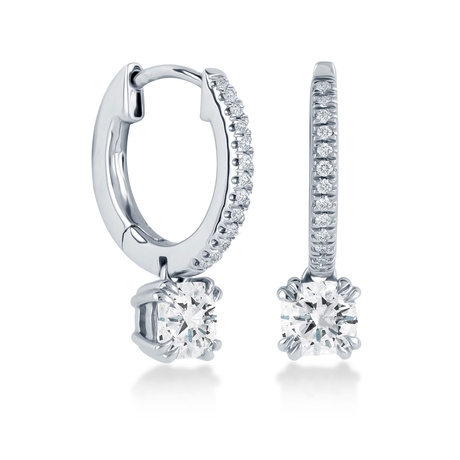 Platinum 1.10 Carat Total Weight Diamond Drop Earrings