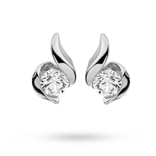 9ct White Gold 0.10ct Wrapped In Love Diamond Earrings