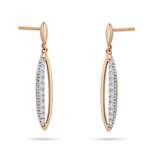 9ct Yellow Gold 0.12 Carat Total Weight Diamond Marquise Drop Earrings
