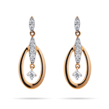 9ct Yellow Gold 0.15 Carat Total Weight Diamond Oval Drop Earrings