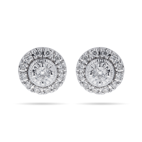 For Her - 9ct White Gold 0.20ct Diamond Halo Stud Earrings - 12152708