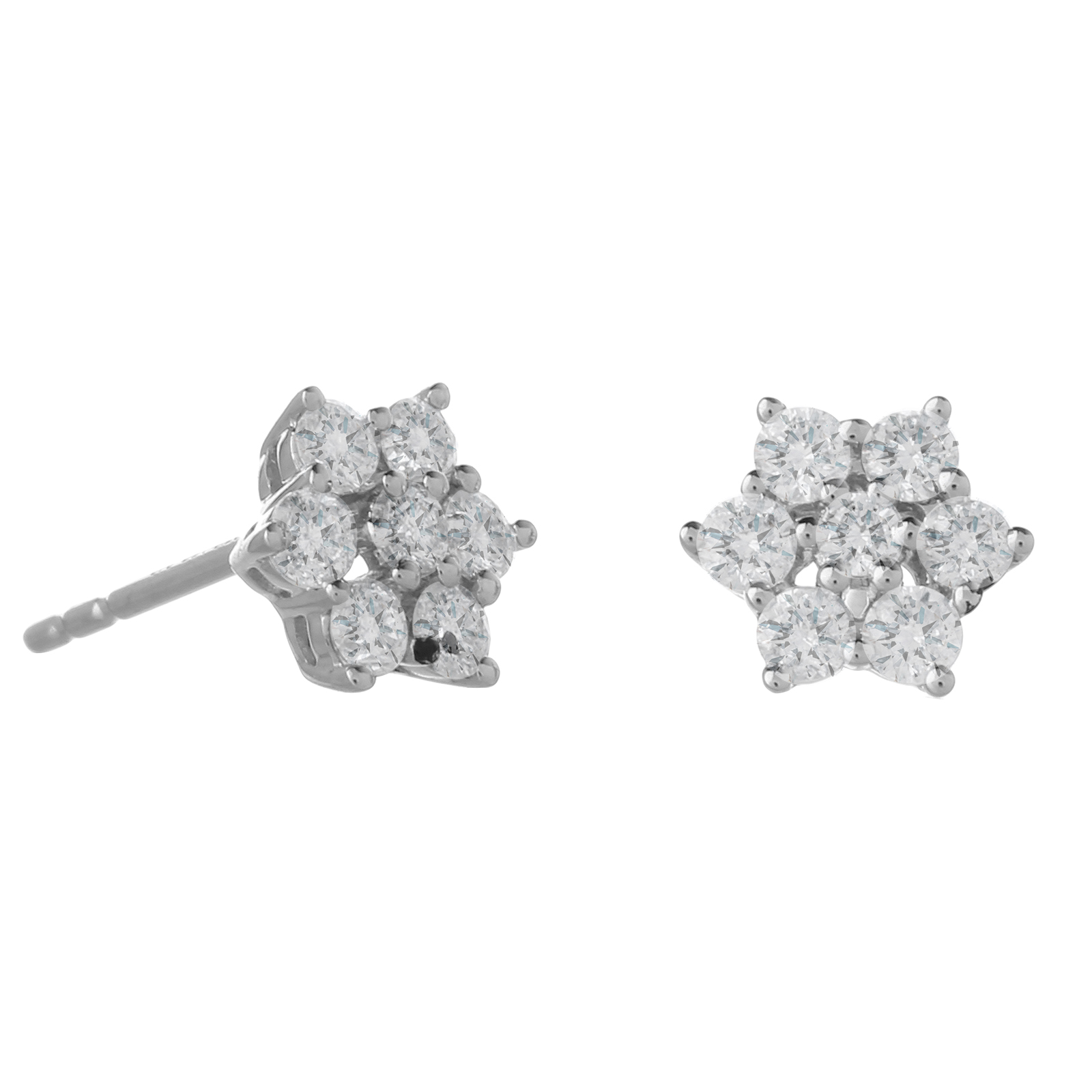 9ct White Gold 0.50ct Diamond Flower Earrings
