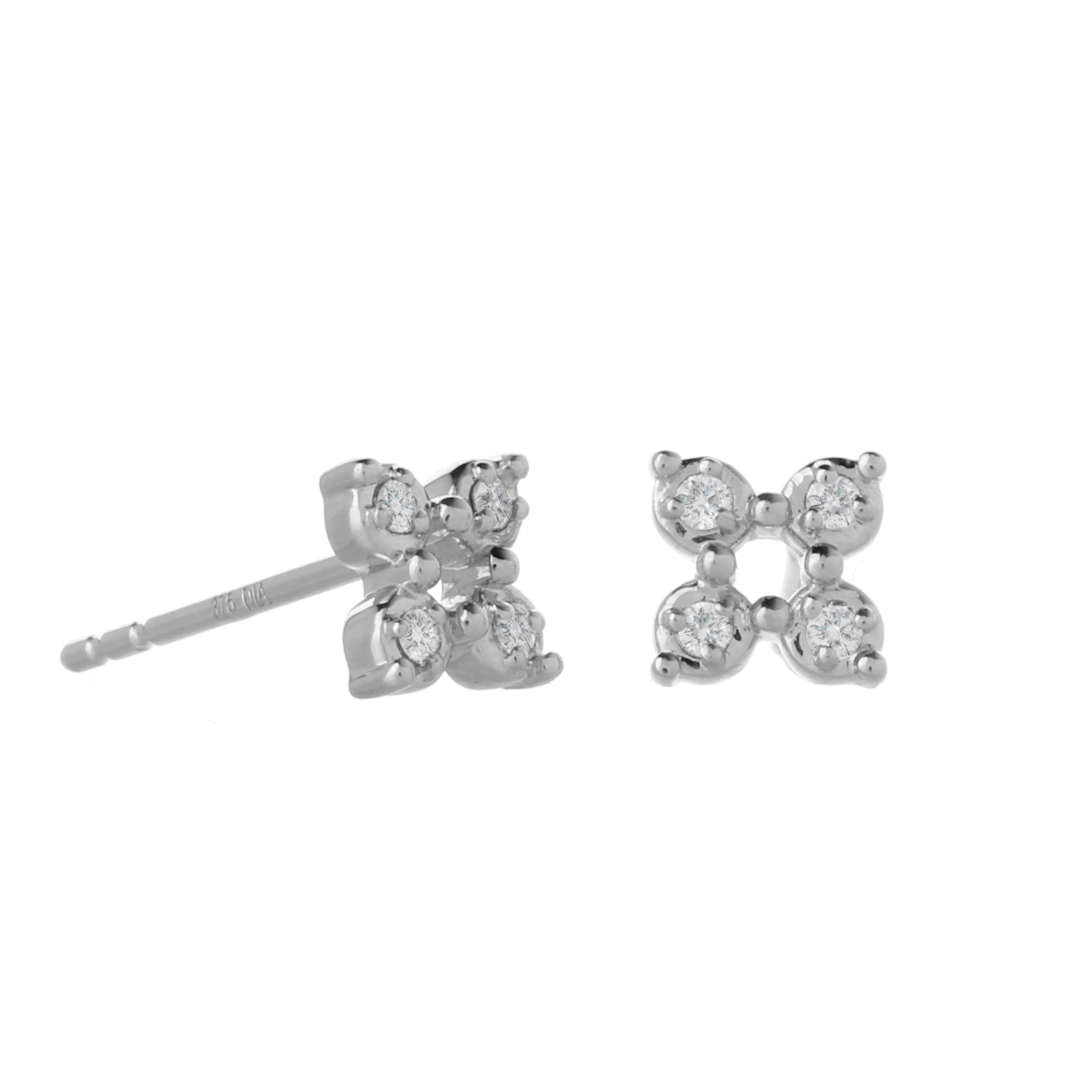 9ct White Gold 0.06ct Diamond Open Flower Stud Earrings