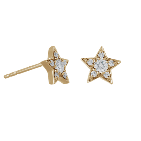 9ct Yellow Gold 0.20ct Diamond Star Earrings