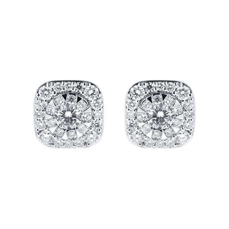 Masquerade 18ct White Gold 0.97cttw Diamond Stud Earrings