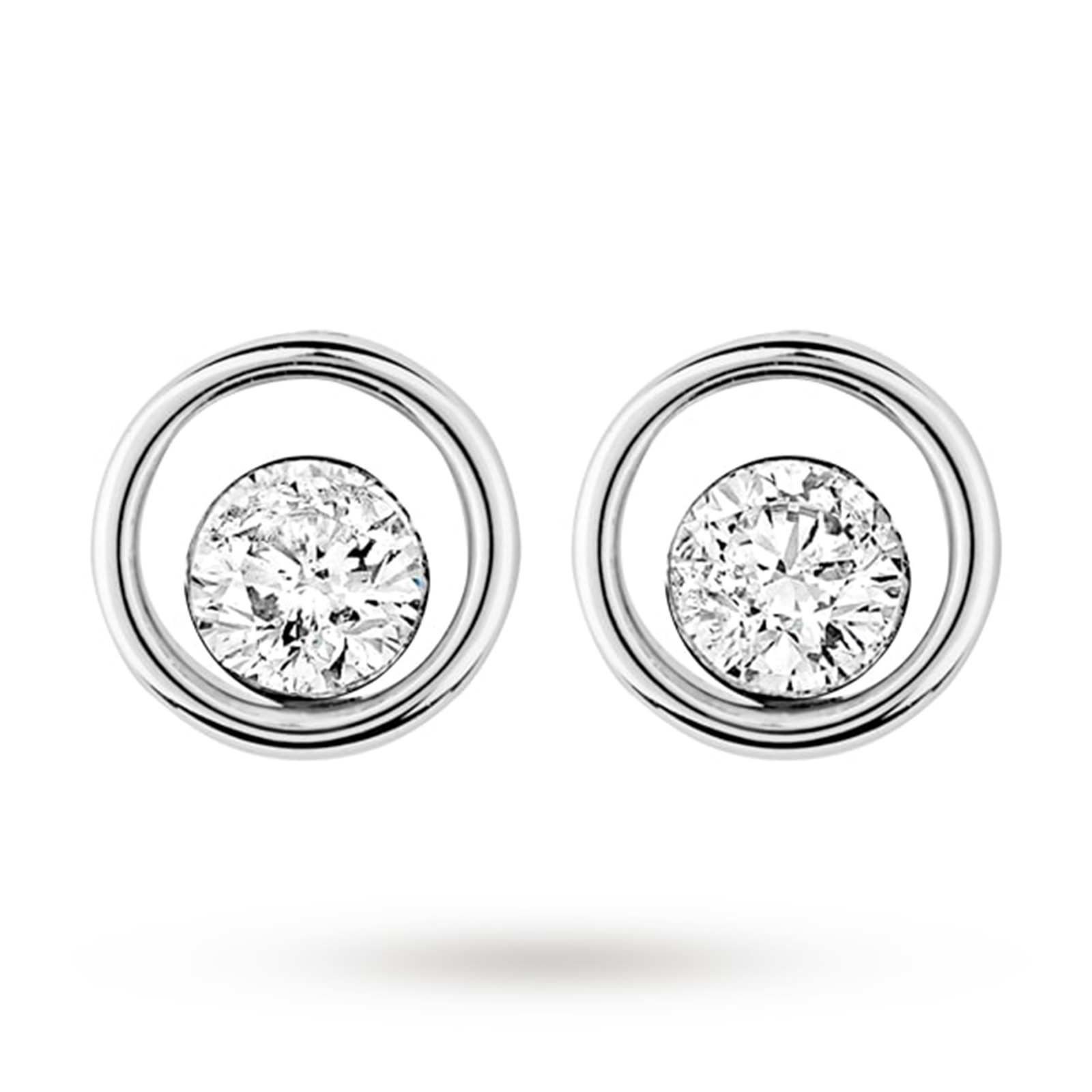 9ct White Gold 0.40ct Floating 88 Facet Diamond Earrings
