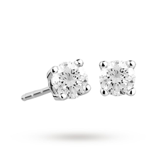 9ct White Gold 0.33ct 4 Claw 88 Facet Diamond Earrings