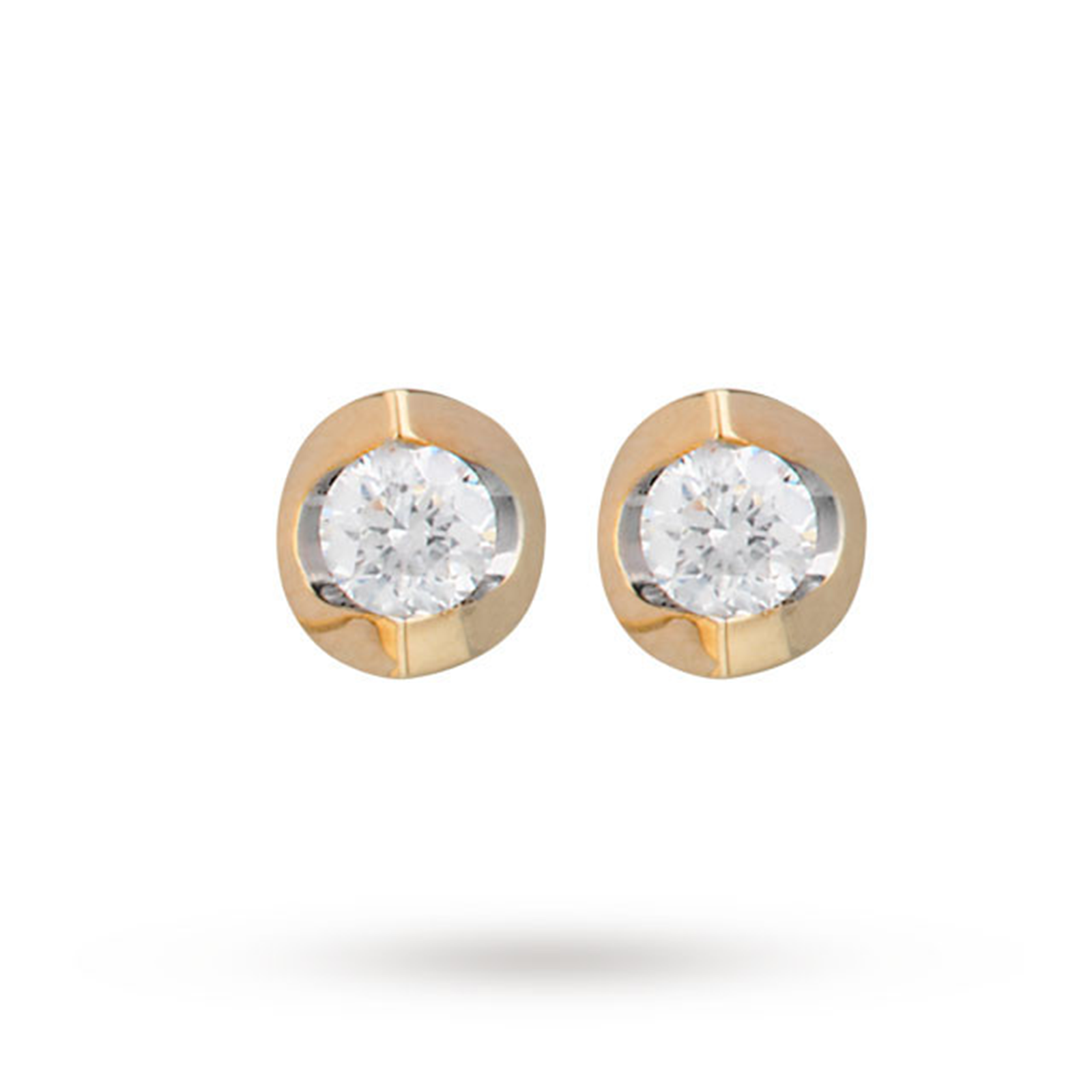 9ct Yellow Gold 0.15ct Tension Set 88 Facet Diamond Earrings