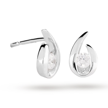 9ct White Gold 0.15ct Goldsmiths Brightest Diamond Swoop Stud Earrings
